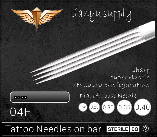 4-Flat Premade Sterilized Tattoo Needle on Bar